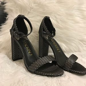 Fishnet Silver and Black Ankle Strap Chunky Heels